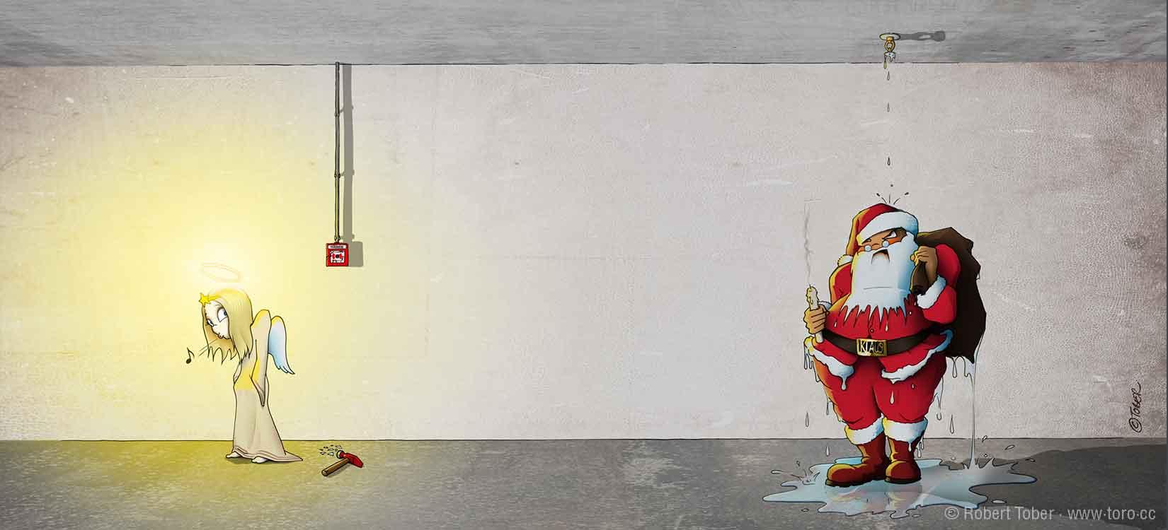 Das Christkind hat durch auslösen der Sprinkleranlage den Weihnachtsmann nass gemacht. Illustration von Robert Tober