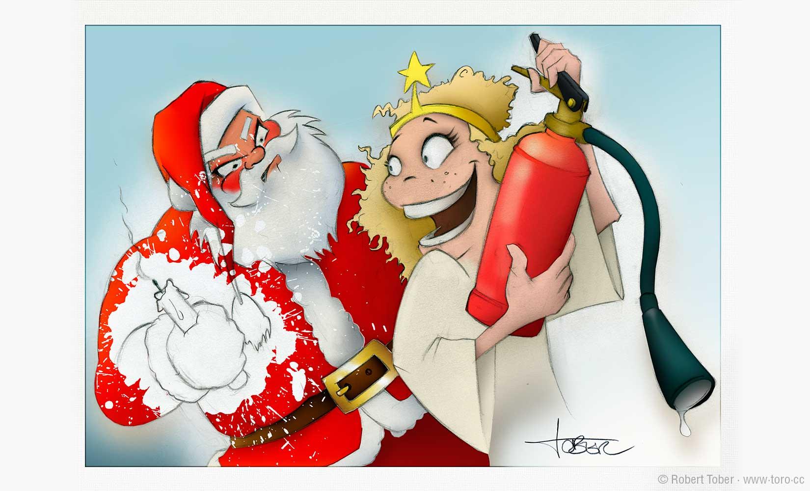 Das Christkind hat den Weihnachtsmann mit einem Feuerlöscher vollgespritzt. Illustration von Robert Tober