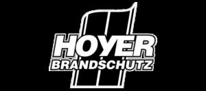 HOYER Brandschutz GmbH Logo, Ausführung als Schwarz-weiß Strichgrafik · Entworfen von Robert Tober