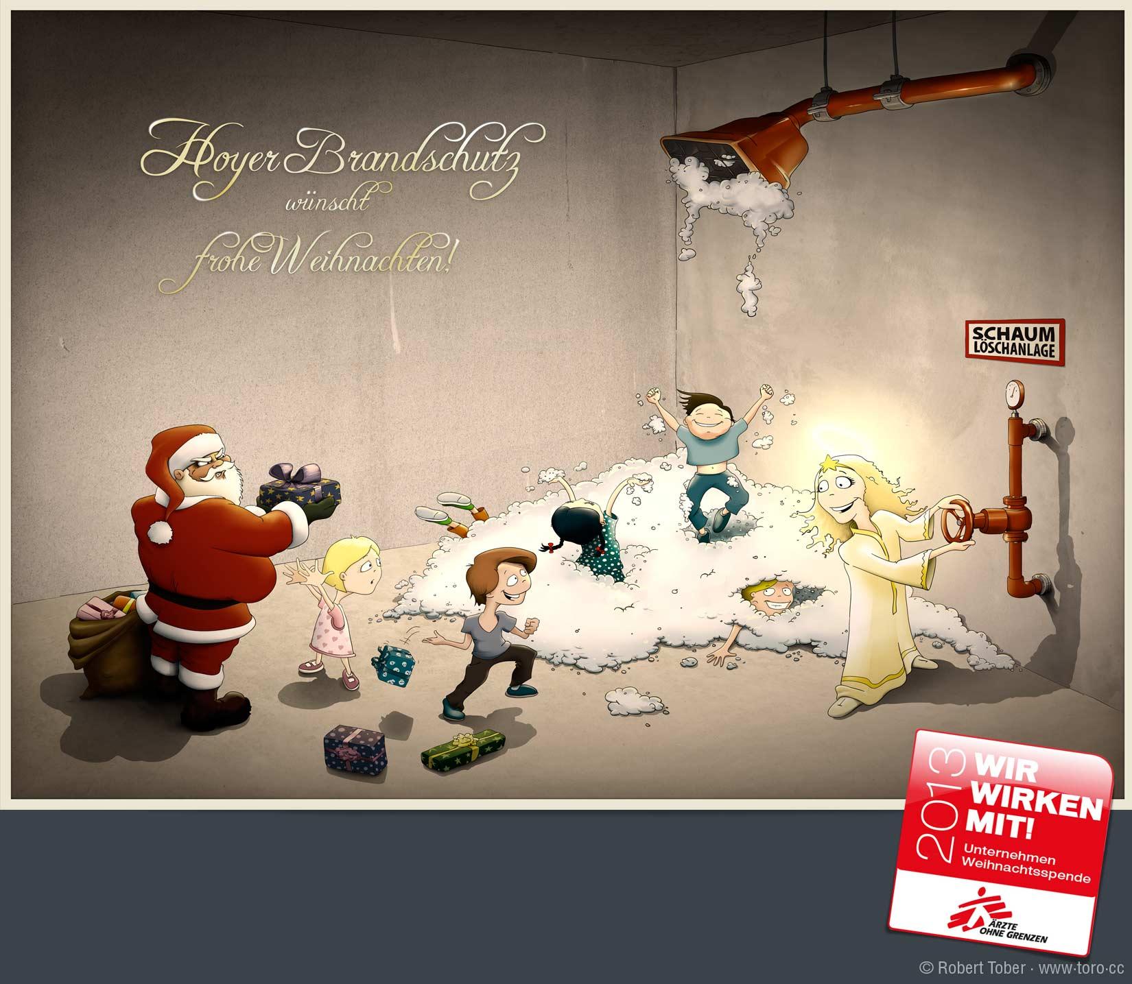 Das Christkind verdirbt Santa das Weihnachtsfest, in dem es den Kindern die Schaumlöschanlage öffnet und diese spielen im herausgeströmten Schaum. Illustration von Robert Tober
