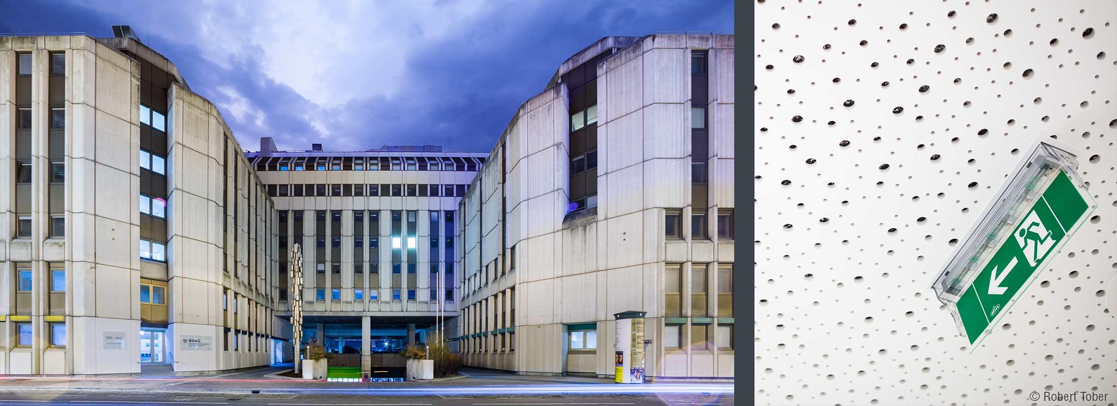 Bundesverwaltungsgericht Wien · Aussenansicht BAG · Flucht- und Rettungswegkennzeichnung nach Plänen von HOYER Brandschutz © Robert Tober