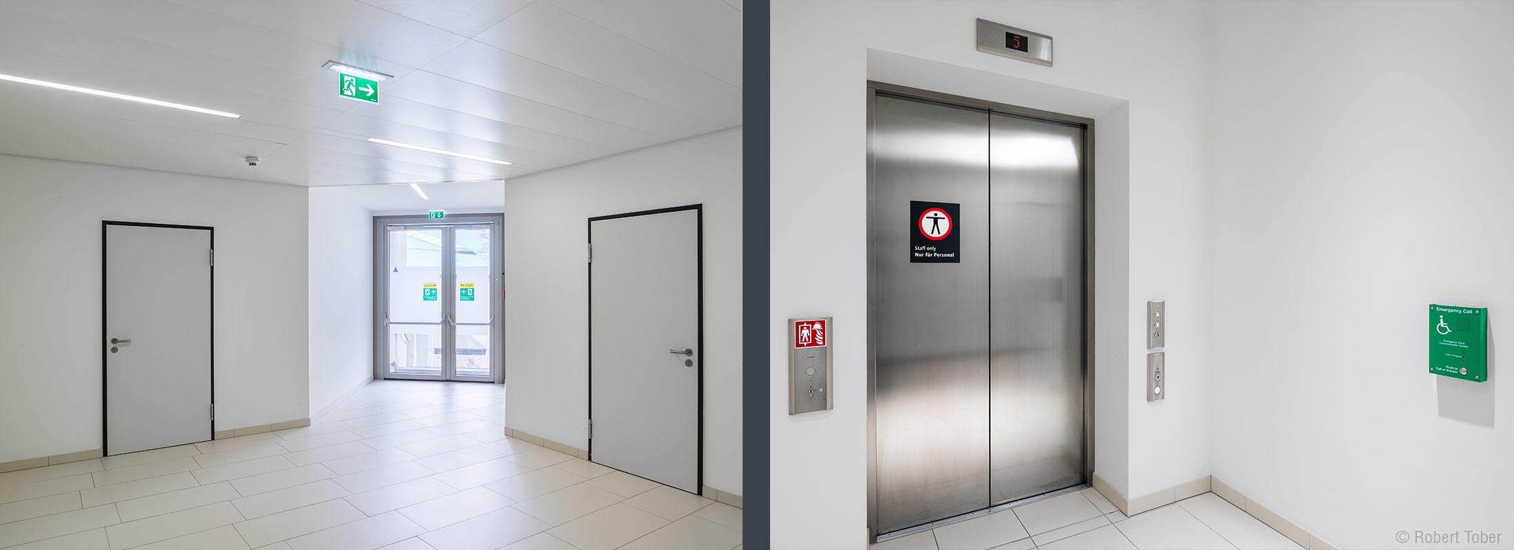 Bundesverwaltungsgericht Wien · Flucht- und Rettungswege nach Plänen von HOYER Brandschutz · Aufzug (KONE, Schindler) © Robert Tober