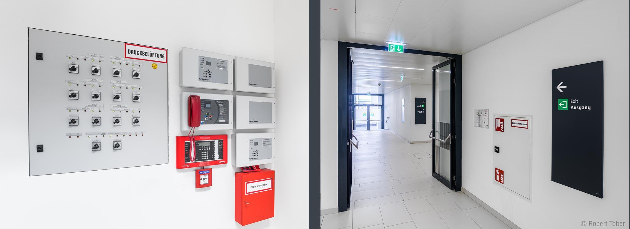 Bundesverwaltungsgericht Wien · Bedientafel der Druckbelüftungsanlage · Flucht- und Rettungswege nach Plänen von HOYER Brandschutz © Robert Tober