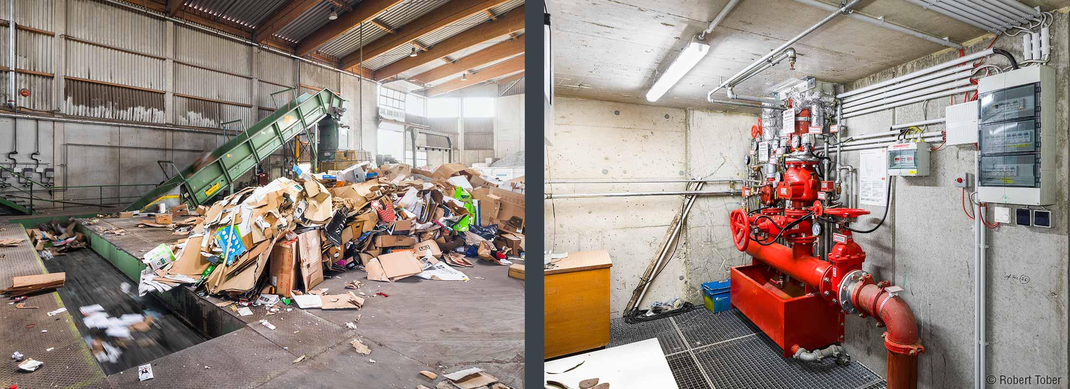 Altpapierverwertung. Sprinklerzentrale, geplant von Hoyer Brandschutz. NUA Abfallwirtschaft Brantner- Hohenruppersdorf © Robert Tober