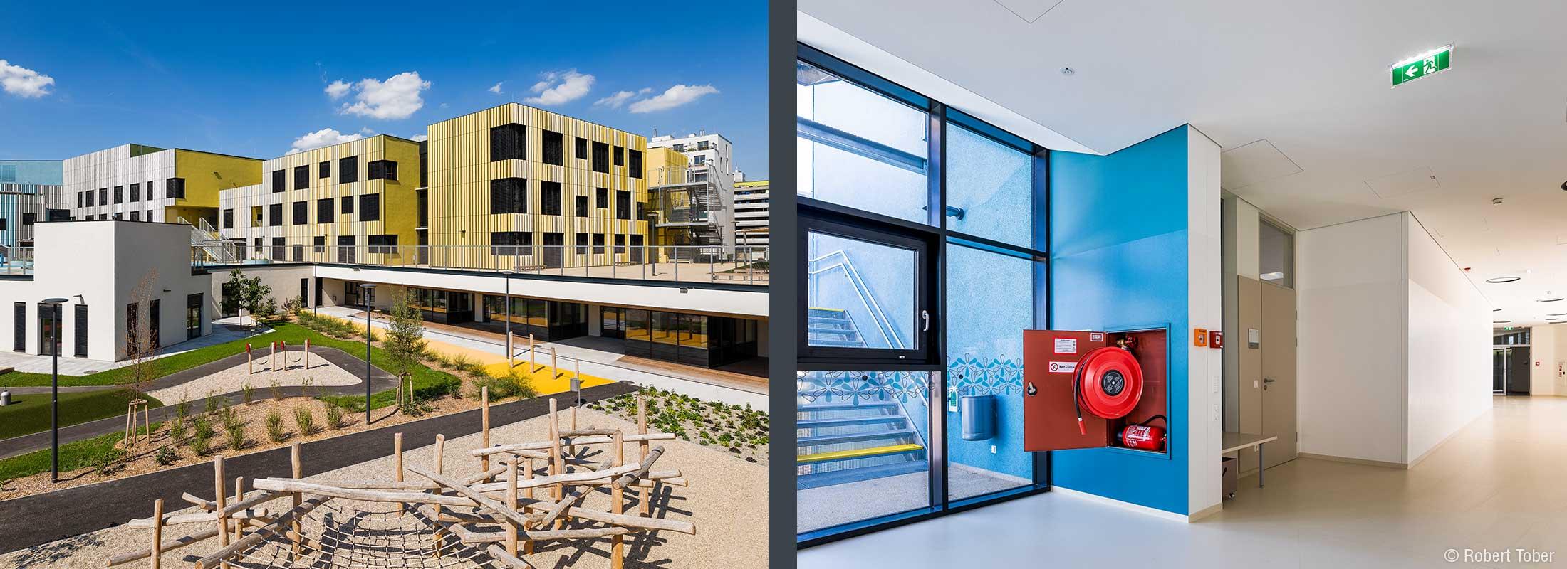 Spielplatz mit Holzklettergerüsten. Wandhydrant, Feuerlöscher und Rauch- und Wärmeabzugsfenster. Christine Nöstlinger Campus Wien. © Robert Tober