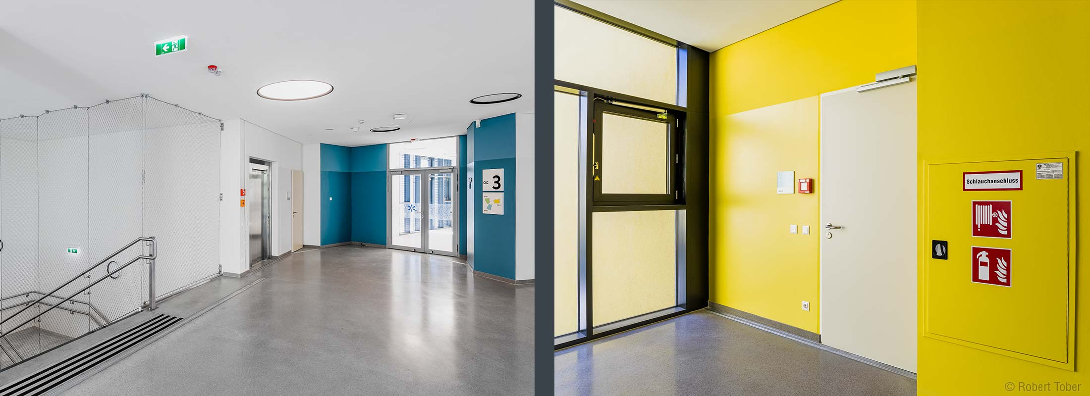 Wandhydrant, Feuerlöscher und Rauch- und Wärmeabzugsfenster. Christine Nöstlinger Campus Wien. © Robert Tober