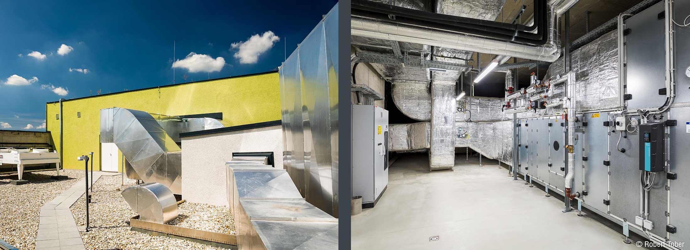 Lüftung und Klimatechnik von Bacon, Siemens und Bösch. Christine Nöstlinger Campus Wien. © Robert Tober