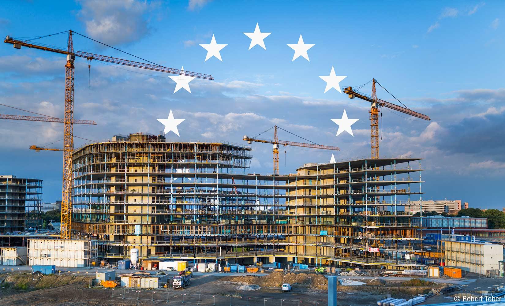 Hauptbahnhof Wien, Baustelle mit Kränen © Robert Tober