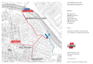 Anfahrt mit öffentlichen und privaten Verkehrsmitteln zur Bloch-Bauer-Promenade 23. Hoyer Brandschutz (Grafische Gestaltung: Robert Tober)