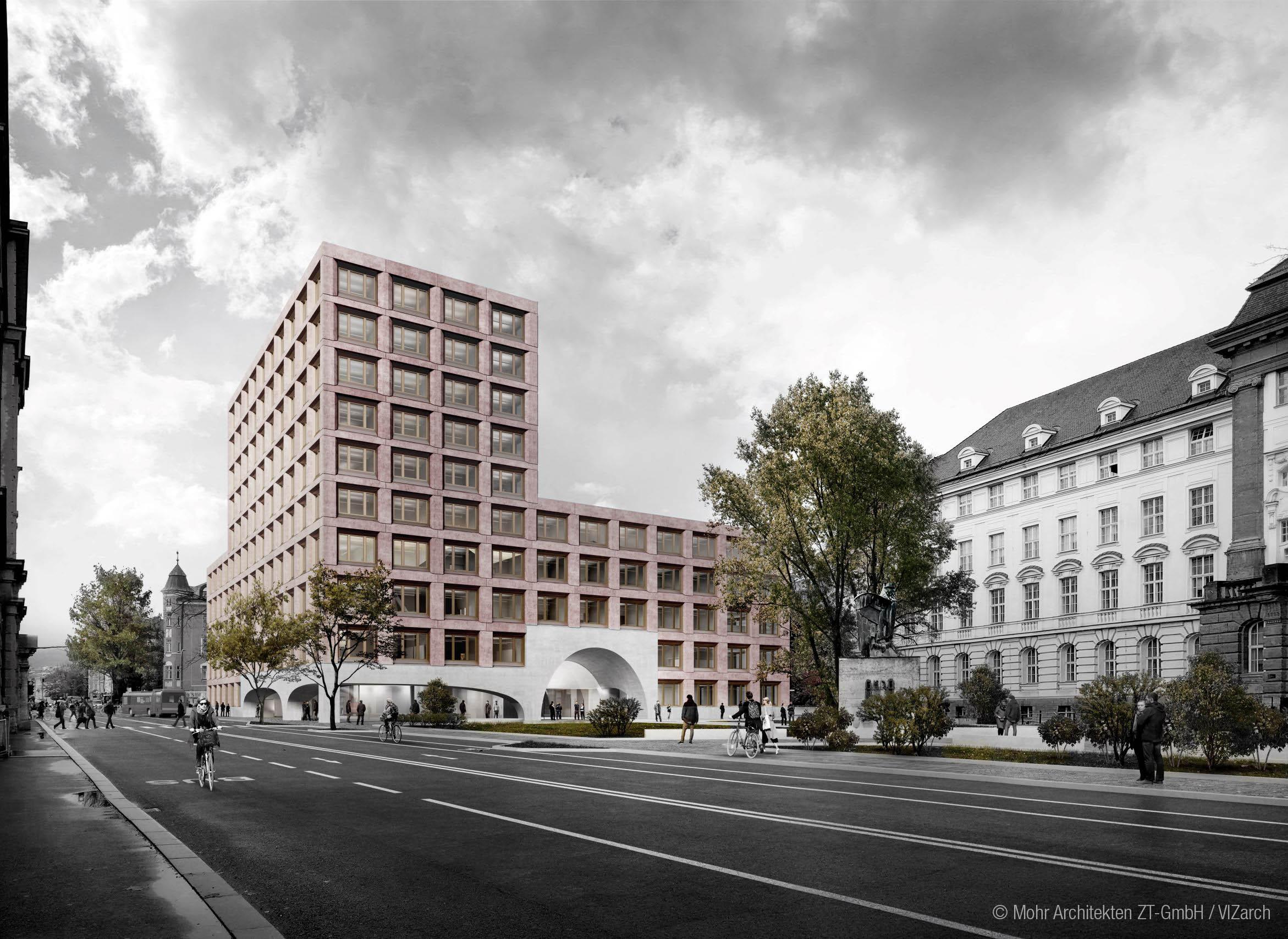 Entwurf des neuen Lehrgebäudes der Universität Innsbruck